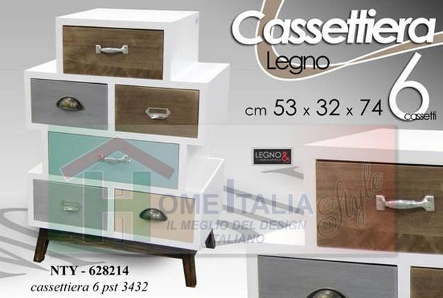 mobili shabby chic regalo cassettiera legno 2 cass cm
