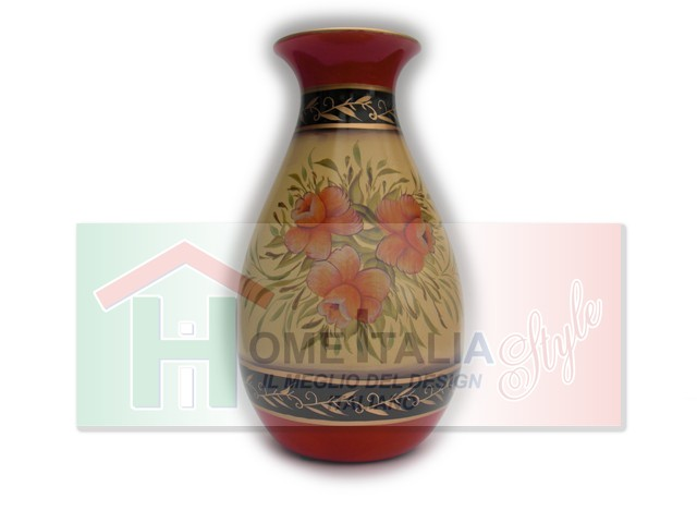 VASO CERAMICA FLOWERS ORANGE VC588